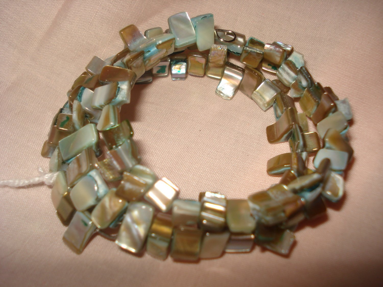 Abalone wrap bracelet in aqua and tan - eg19