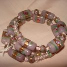 Lilac and gold beaded memory wire wrap bracelet - eg18