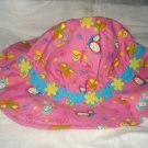 Baby / toddler hat in pink with butterfiels and flower trim- ekho1a