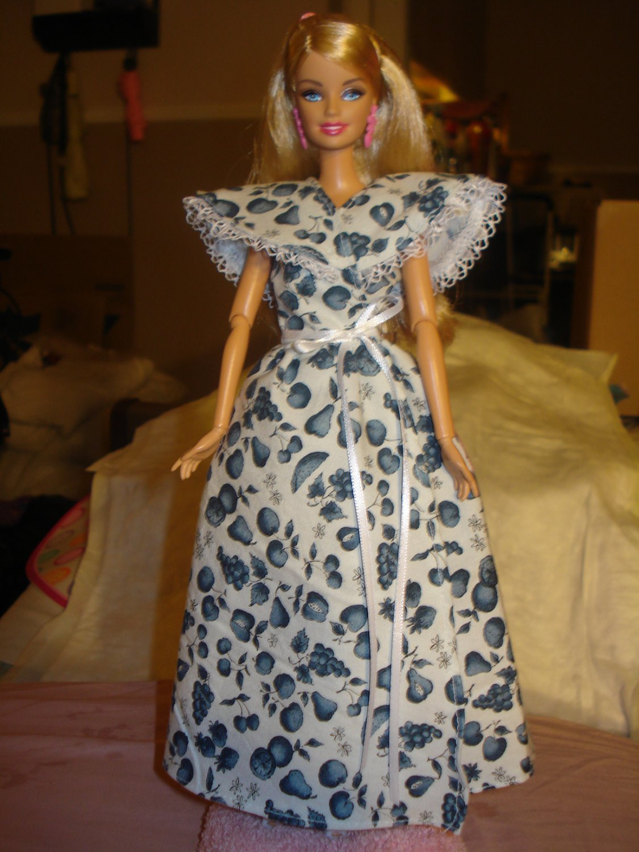 White & blue fruit print long wrap dress for your Barbie Dolls - ed133