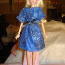 Blue and gold print easy on peasant dress for Barbie Dolls - ed134