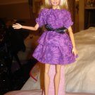 Easy on purple print peasant top & skirt set for Barbie Dolls - ed136