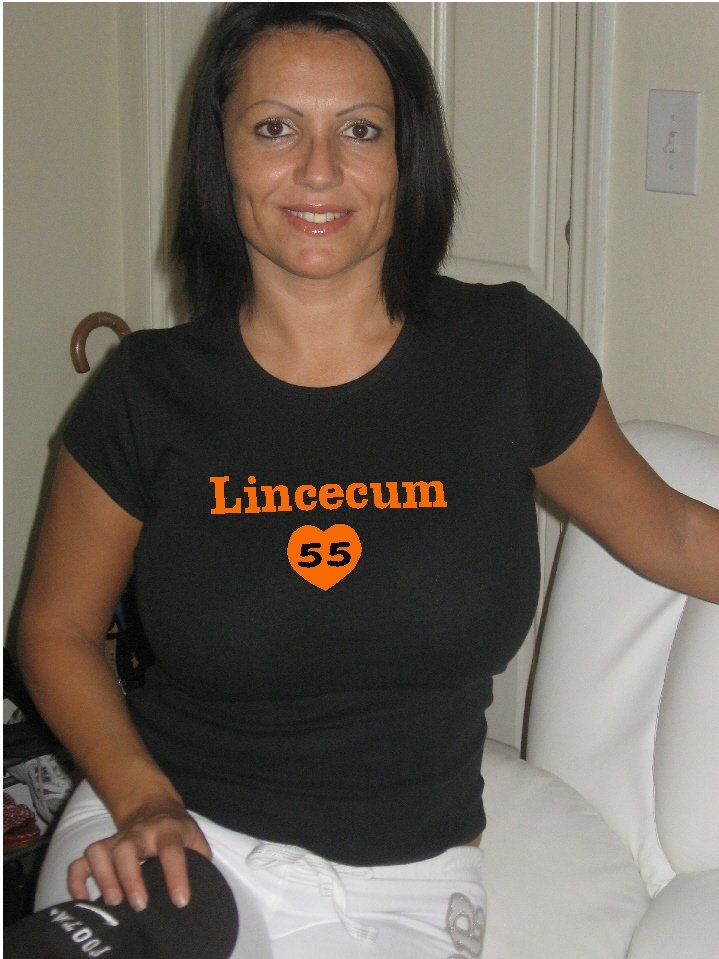 "Womens ""Tim Lincecum"" Giants T Shirt Jersey S-XXL"
