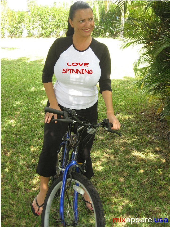 """Womens """"Love Spinning"""" Exercise Workout Fitness T Shirt"""