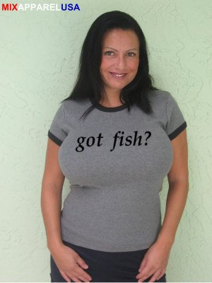"Womens ""Got Fish ?"" Tennis T Shirt Mardy S-XXL"