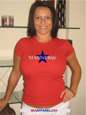 "Womens Cute ""Marine Wife""  Military T Shirt S-XXL"
