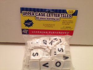 A-Z Uppercase Letter Tiles Learning Playground 88 Pc Set Letter Recognition Spelling ages 3 &up