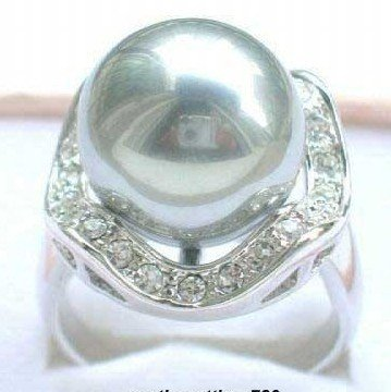 Gray Shell Pearl Silver Crystal Rings size: 7.8.9