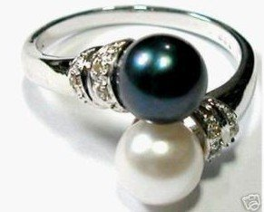 Charming double black white pearl women's ring size:7-9 free shipping