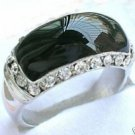 Charming silver black onyx ring size:7-9 free shipping