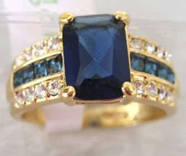 Genuine blue Tourmaline Tanzanite 18K GP Ring  free shipping