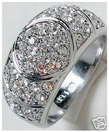 white Crystal Men's women's Ring Size:8-11#   free shipping