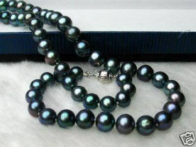 """Fancy 7-8mm genuine Black FW Pearl Necklace 18"""" free shipping"""