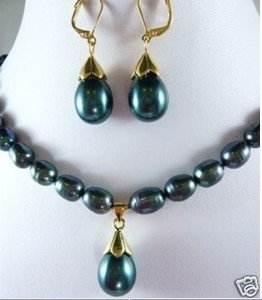 HOT! Fancy Black Pearl necklace pendant earring Set  free shipping