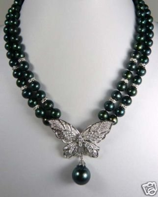 Beautiful 8mm Black Pearl Butterfly Crystal Necklace  free shipping