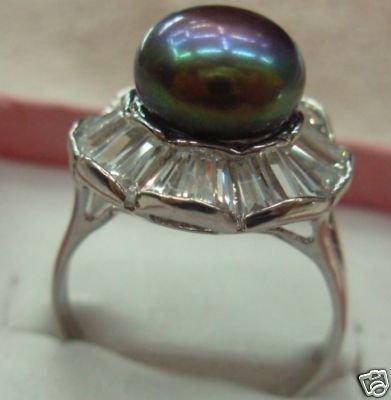 Black Freshwater Pearl Ring free shipping