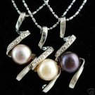 3pcs Black Purple White Pearl Pendants Necklace  free shipping