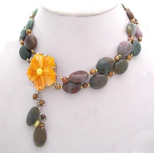 Multicolor agate pearl and shell clasp Necklace free shipping