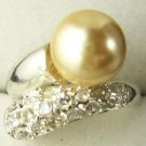 Yellow Golden Pearl Silver Crystal ring Size: 6.7.8.9  free shipping