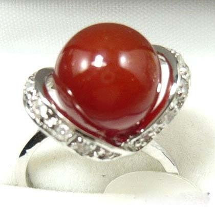 Red Agate Jade silver crystal Ring size: 7. 8. 9 free shipping