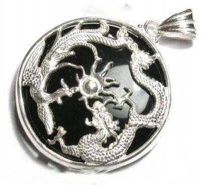 Black Agate Jade Dragon Phoenix Pendant Necklace free shipping