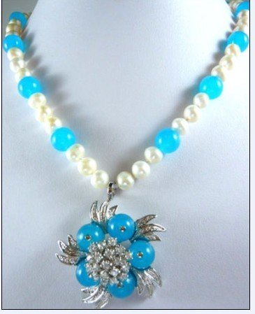 blue jade white pearl necklace pendant free shipping