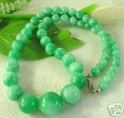 Exquisite Green Jade Big Beads Necklace free shipping