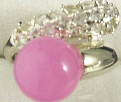 Pink jade Silver Cluster Crystal Ring Size: 6.7.8.9 free shipping