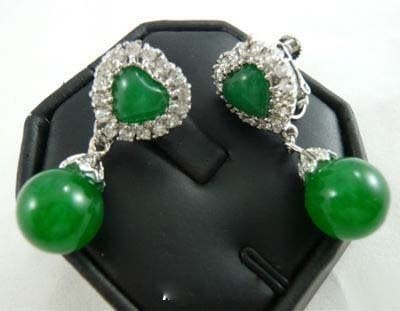 Emerald Green Jade silver crystal heart Bead Earrings free shipping