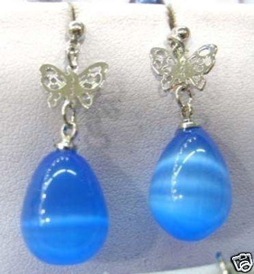 Beautiful blue opal butterfly dangle earrings  free shipping
