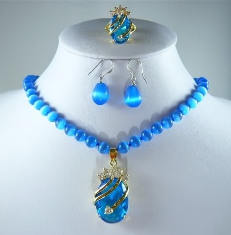 New blue opal necklace crystal pendant earring ring set  free shipping
