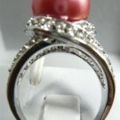 nice red shell pearl ring SIZE 7 8 9 10 free shipping