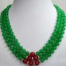 Jewellery 8mm 3 rows Emerald jade red jade necklace free shipping
