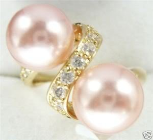 Superb 18KGP Pink Shell Pearl crystal ring size 6-9 free shipping