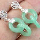 Beautifully silver green jade earring  free shipping