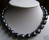 10MM natural black pearl necklace 18 inch  free shipping