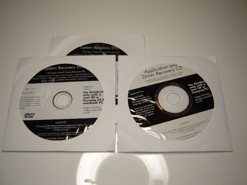 New HP 538587-B21 System Recovery Kit, Application and Driver Recorder CDs