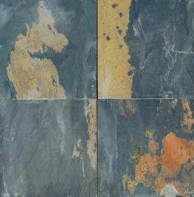 Slate Tile 16x16 Black Rustic Polished
