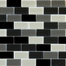 Mosaics 1X2 GLASS BRICK BLACK BLEND (CrystallizedBlend) 12x12