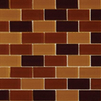 Mosaics1X2 GLASS BRICK BROWN BLEND (CrystallizedBlend) 12x12