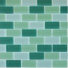 Mosaics1X2 GLASS BRICK GREEN BLEND (CrystallizedBlend) 12x12
