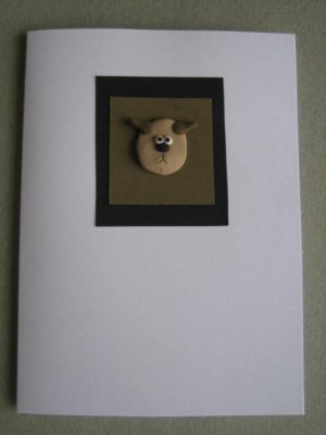 Handmade Polymer Clay Card - DOG
