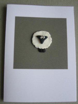 Handmade Polymer Clay Card - SHEEP