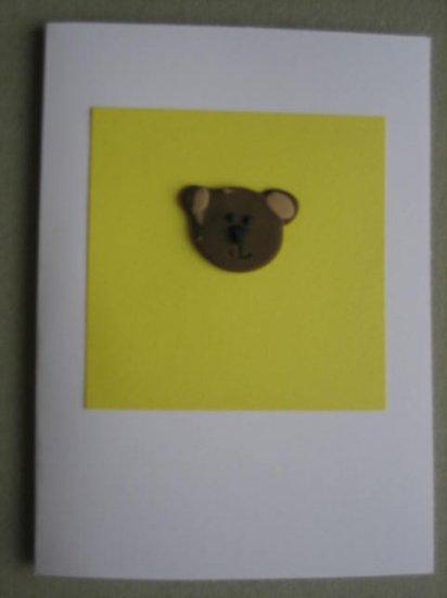 Handmade Polymer Clay Card - TEDDY BEAR