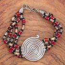 Spiral Red Bead Bracelet