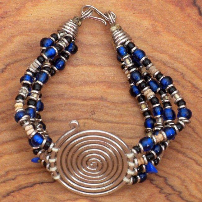 Spiral Blue Bead Bracelet