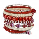 Red and White Bone and Bead Bracelet