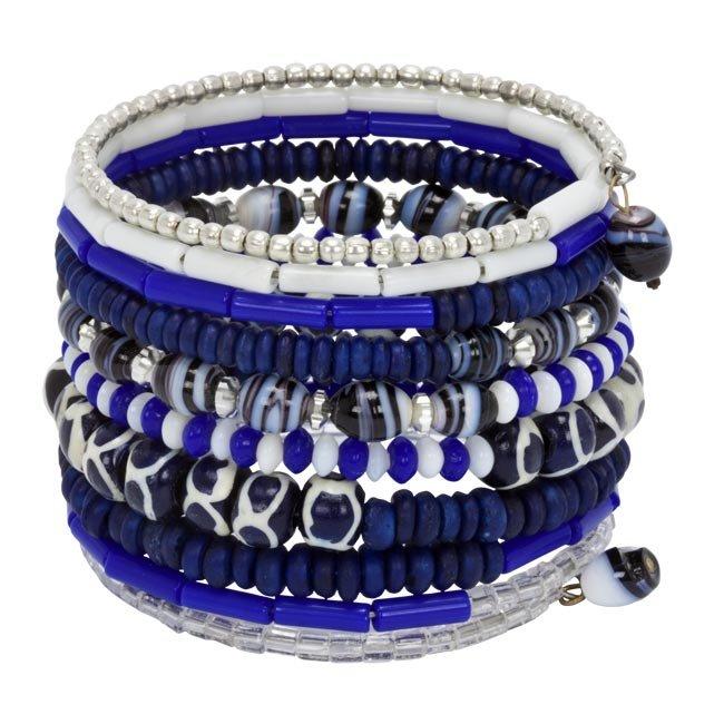 Bright Blue Bone and Bead Bracelet