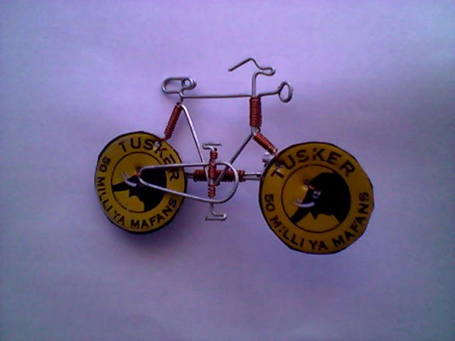 Bicycle Pin With Beer Caps