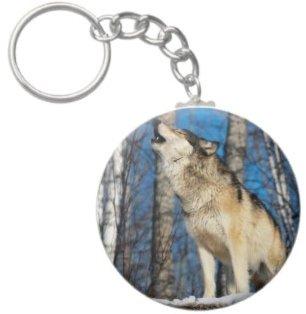 2.25 Inch Howling Wolf Keychain